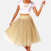 Lavand Twirl Next Door Beige Tulle Skirt
