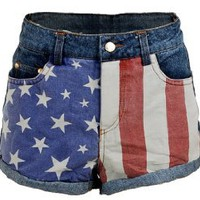 US USA American Flag Printed Low Rise Denim Jeans Women`s Shorts Hot Pants - X-Small: Clothing