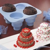 Amazon.com: 4 CAVITY 3 TIERED SILICONE CAKE MOLD - MAKES 4 MINI 3 TIERED CAKES AT THE SAME TIME!: Kitchen & Dining