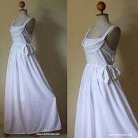 White Maxi Dress Beautiful Lovely Wedding Cotton Long by Nuichan