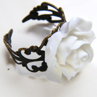 Mothers Day Gift, Cocktail  Ring, Bridesmaid Ring, White Rose Statement Ring,  Ladies Vintage Look  Fashion Ring