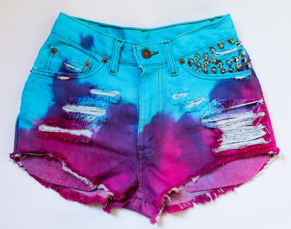 bright aqua purple and pink / Levi's vintage by todyefordenim