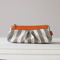 Cosmetic case with stripe cotton canvas and Orange by milloo