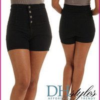 Nin-602-Black Denim High Waisted Four Button Shorts