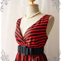 Summer Dress Tea Dress Red Black Stripe Dress High Waisted Vintage Inspired Dress Party Cocktail Garden Dress Nautical Navy Dresses -S-M-