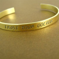 Doctor Who Trust Your Doctor Cuff Bracelet - Spiffing Jewelry