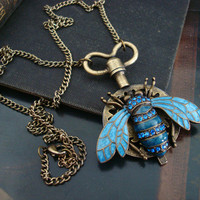Steampunk Bee Time Necklace, Original Jewelry, Royal Blue Enamel and Rhinestone Set, Gears and Clock Key Pendant