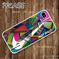 Nike JUST DO IT with wonderful aztec pattern : Handmade Case for Iphone 4/4s , Iphone 5 Case Iphone