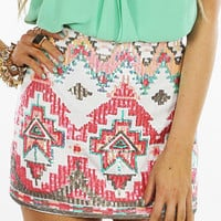 TRIBAL SEQUIN SKIRT - White/Red