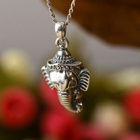 Elephant Portrait 925 Sterling Silver Pendant