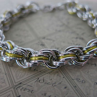 Spiral Rope Chainmaille Bracelet - Yellow and Silver Rope Bracelet - Chainmaille Rope Bracelet