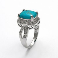 Sterling Silver .10-ct. T.W. Diamond and Turquoise Ring