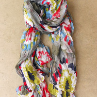Sheer Chrysanthemum Scarf [3869] - $16.00 : Vintage Inspired Clothing & Affordable Fall Frocks, deloom | Modern. Vintage. Crafted.