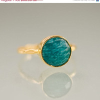CLEARANCE - Amazonite Stacking Ring - Green Stone Ring - Gemstone Ring - Gold Ring - Bezel Set Ring