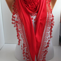 NEW- Mother&#x27;s Day Gift Red Cotton Rose Shawl/ Scarf - Headband -Cowl with Lace Edge -