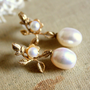 Pearls gold earrings Gold field earrings and real by iloniti
