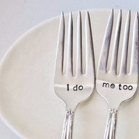 I Do Me Too  Vintage Wedding Cake Fork Set by jessicaNdesigns