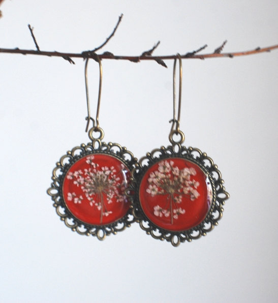 Real Flower Earrings Resin Jewelry Red by NaturalPrettyThings