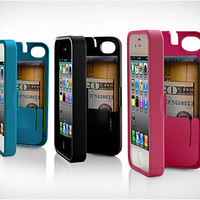 Case for iPhone 4/4S with built-in storage space for credit cards/ID/money by EYN