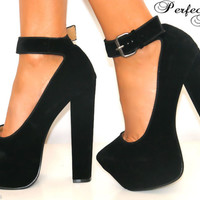 LADIES BLACK SUEDE HIDDEN PLATFORM BLOCK HEEL SHOE BUCKLE ANKLE STRAPPY SANDAL