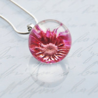 Real Flower Necklace Resin Ball Pink by NaturalPrettyThings