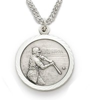 "Sterling Silver 3/4"" Round Baseball Player Medal with St. Christopher on the Back on 20"" Chain"
