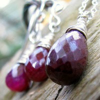 Ruby Tear Drop Earrings And Necklace Set, Sterling Silver Wire Wrapped