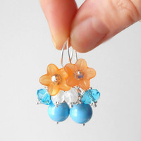 Beaded Jewelry, Cluster Earrings, Orange and Turquoise Bridesmaid Earrings, Flower Dangles, Tropical Weddings, Bridesmaid Jewelry