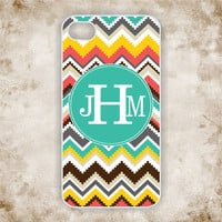 iPhone 4 Case - Tribal, Aztec Pattern with Monogram iPhone - iPhone Case, iPhone 4 Cover, Monogram iPhone Case (iM5113)