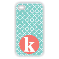 Rubber iPhone 4 Case - Tiffany blue lattice with coral monogram iPhone Case, iPhone 4s Case, Monogrammed iPhone Case (iM2030