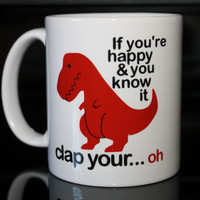 Coffee Mug - Red T Rex Coffee Mug - Funny Custom Coffee Mug - Personalized Mug