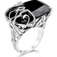 Black Onyx Ring with Half Overlay Diamonds Deco Scroll