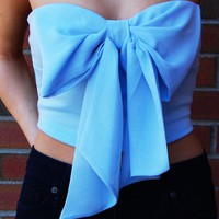 Light Blue Strapless Crop Top with Chiffon Bow Front