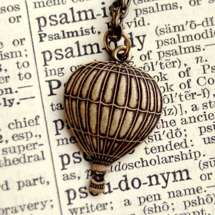 Brass French Balloon Necklace by RagTraderVintage.com