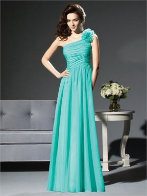 A-line One Shoulder With Hand Made Flower Sky Blue Bridesmaid Dress BD0276