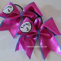 Thingy 1 and Thingy 2 PINK Large Cheer Bow by SparkleBowsCheer