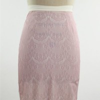 Rose-colored lace pencil skirt with ivory liner