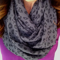 Grey Leopard Print Infinity Scarf