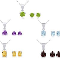Sterling Silver Peridot, Garnet, Amethyst, Blue Topaz and Citrine Stud Earrings and Pendant Necklace...