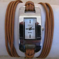 Women Leather Wrap Bracelet Gold Watch FREE SHIPPING