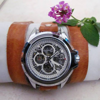 Automatic Skeleton Watch - Walnut Brown Leather Wrist Watch Free Shipping
