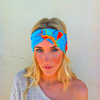 Knotted Turban Headband Two Color Teal & Retro Roses Stretchy Workout Hair bands  (T01)