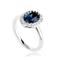 Magic Collection Rose/White Gold Finish Kate Middleton Diana Ring Oval Blue, Green, Purple, Red...