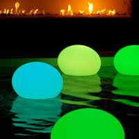 "LED Cordless Lighting FLAT BALL XL 19.7"" x 15.2"" by smart & green, all weather for indoor outdoor, pool and spa."