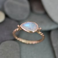 Rainbow Moonstone and 14k Rose Gold Sideswept Ring