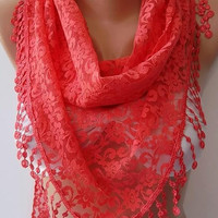 by womann Super elegant  scarf -- lace scarf...