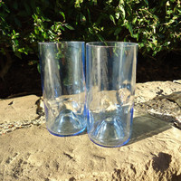 Wine Bottle Glasses Recycled from Pale Blue Wine Bottles 16oz  Set of 2
