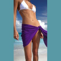 Ladies' Solid Half/Mini Swimsuit Cover-up Sarong- by 1 World Sarongs in your choice of color
