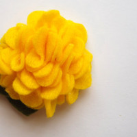 Felt Flower Bloom Shown in Yellow on your by PosiesandPetals