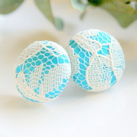 Light Blue And White Lace Stud Earrings - Medium | Luulla